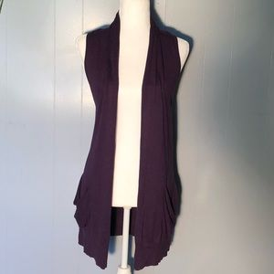 Tops - Dragonfly purple long sweater vest sz small